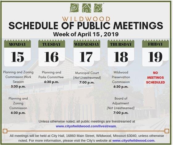 City of Wildwood Schedule of Meetings - Week of April 15, 2019