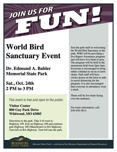 Babler State Park - World Bird Sanctuary Event - October 24, 2020