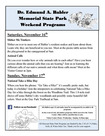 Babler State Park - Schedule of Events for this Weekend - November 16 and 17, 2019