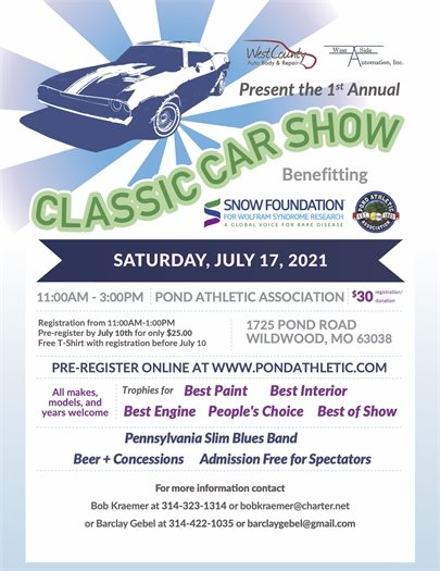 Classic Car Show - Saturday, July 17, 2021 @ Pond Athletic Association