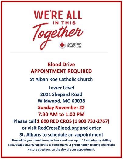 St. Alban Roe Catholic Church - Blood Drive - Sunday, November 22, 2020
