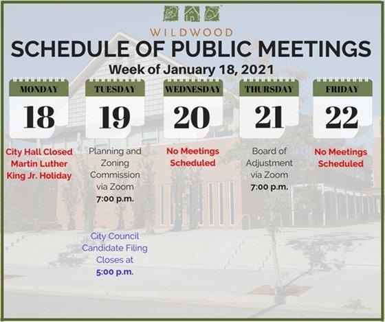 City of Wildwood - Schedule of Meetings for the Week of Janaury 18, 2021