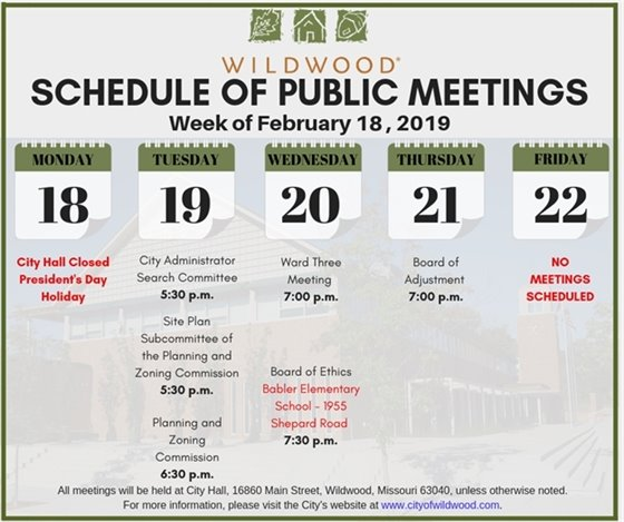 Public Meeting Schedule for the Week of February 18, 2019 - City of Wildwood