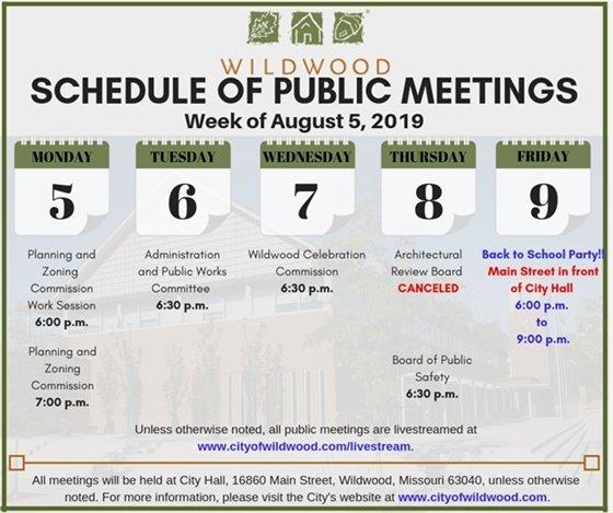 Schedule of Meetings for the City of Wildwood - Week of August 5, 2019