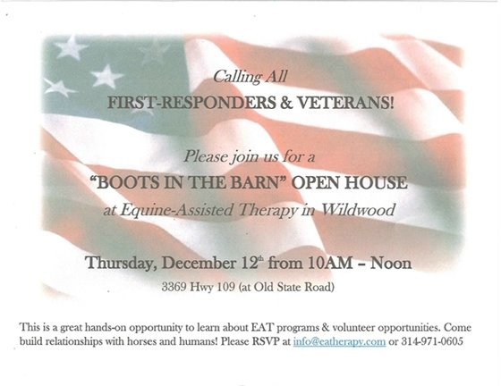 "Equine Assisted Therapy - ""Boot in the Barn"" Open House"