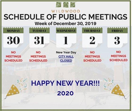 City of Wildwood - Schedule of Meetings for the Week of December 30, 2019