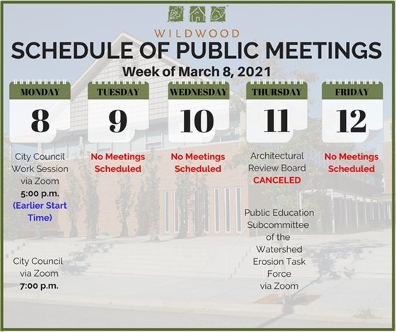 City of Wildwood - Schedule of Meetings for the Week of March 8, 2021