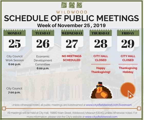 City of Wildwood - Meeting Schedule for the Week of November 25, 2019