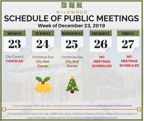 No Meetings Scheduled for the City of Wildwood - Week of December 23, 2019