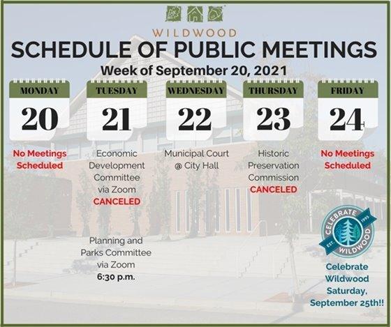 City of Wildwood - Schedule of Meetings for the Week of September 20, 2021