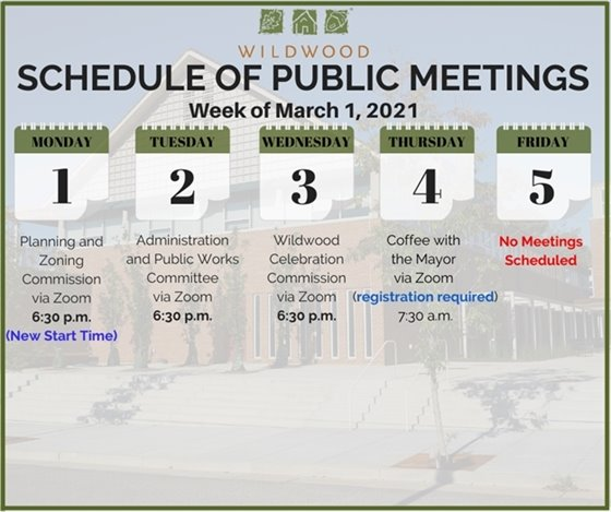 City of Wildwood - Schedule of Meetings for the Week of March 1, 2021