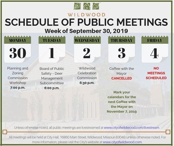 City of Wildwood - Schedule of Meetings for the Week of September 30, 2019