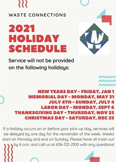 Waste Connections - 2021 Holiday Schedule