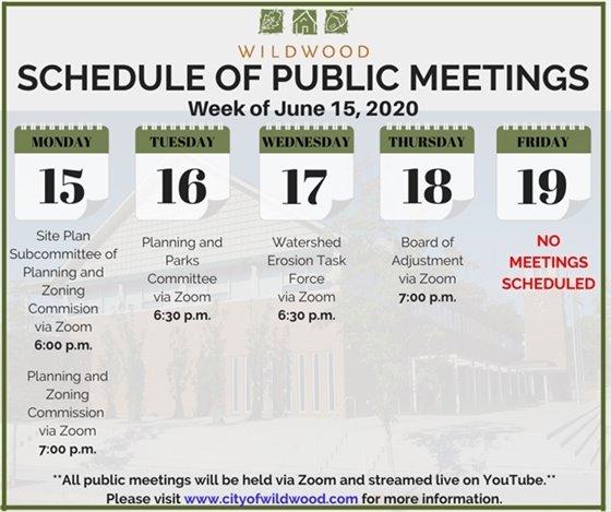 City of Wildwood - Schedule of Meetings for the Week of June 15, 2020