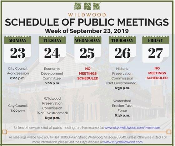 City of Wildwood - Schedule of Meetings for the Week of September 23, 2019