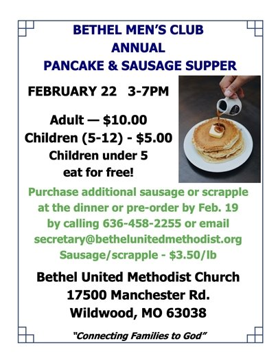 Bethel Methodist Church - Annual Pancake and Sausage Supper - February 22, 2020