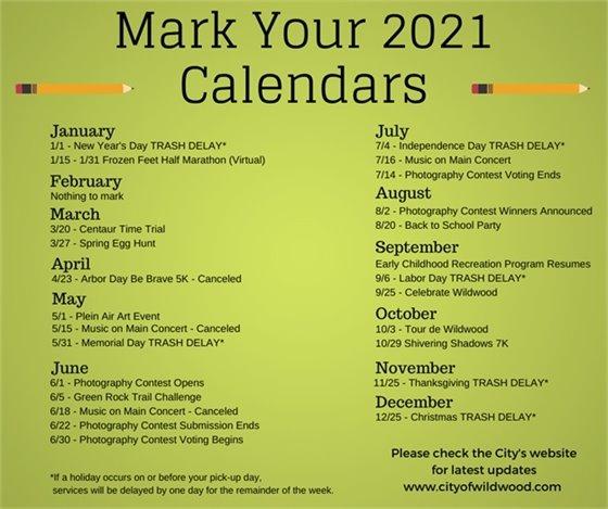 City of Wildwood Recreation Event Schedule - 2021