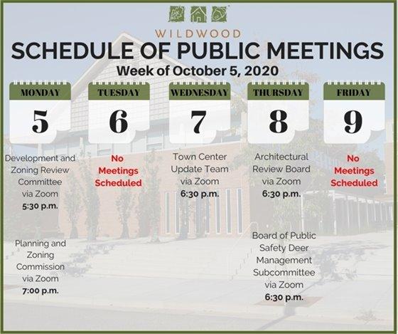 City of Wildwood - Schedule of Meetings for the Week of October 5, 2020