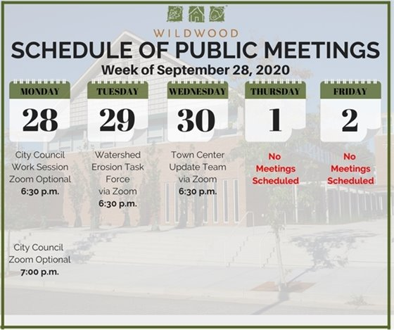 City of Wildwood - Schedule of Meetings for the Week of September 28, 2020