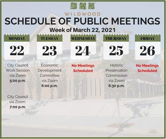 City of Wildwood - Schedule of Meetings for the Week of March 22, 2021