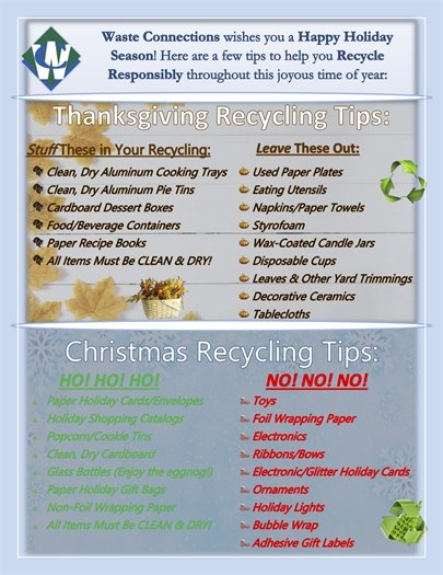 Waste Connection - Holiday Recycling Tips
