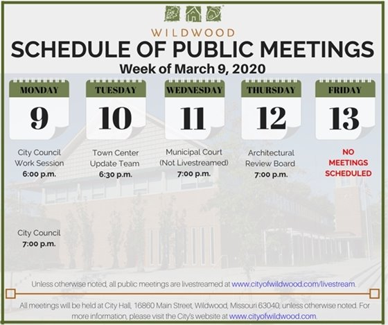 Schedule of Meetings for the Week of March 9, 2020 - City of Wildwood
