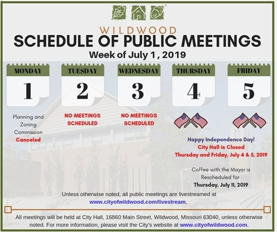 City of Wildwood Schedule of Public Meetings for the Week of July 1, 2019