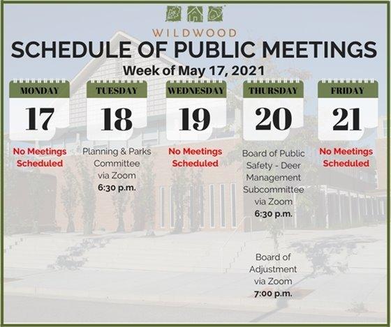 City of Wildwood - Schedule of Meetings for the Week of May 17, 2021