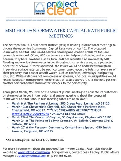 MSD Stormwater Capital Rate Public Meeting Schedule