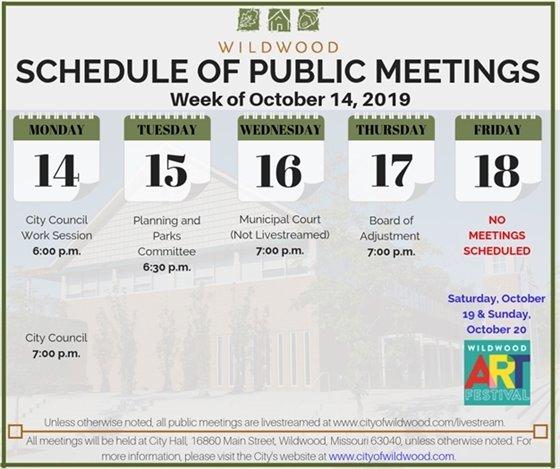 City of Wildwood Schedule of Public Meetings - Week of October 14, 2019