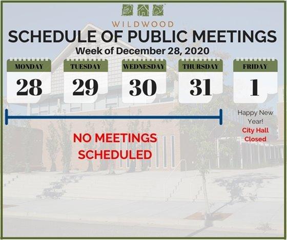 City of Wildwood - Schedule of Meetings (None) for the Week of December 28, 2020