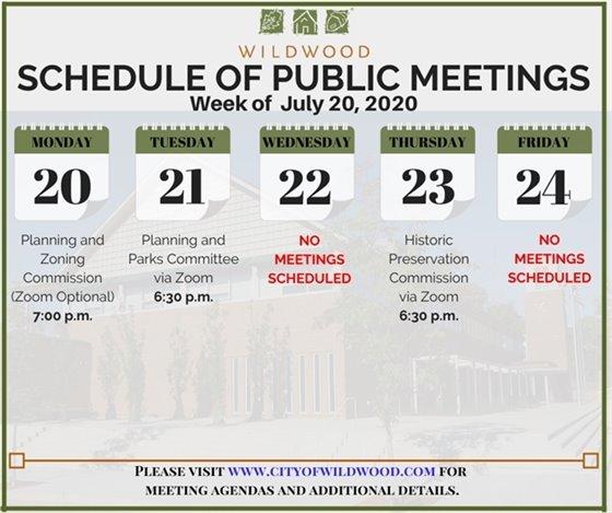 City of Wildwood - Schedule of Meetings for the Week of July 20, 2020