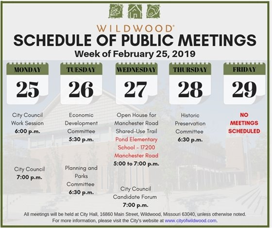 City of Wildwood - Schedule of Meetings for February 25, 2019