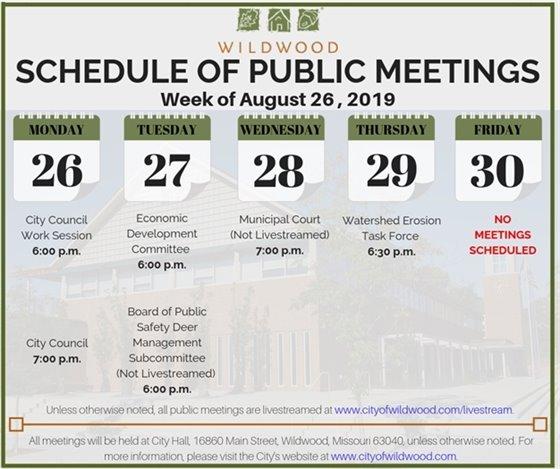 City of Wildwood Schedule of Meetings for the Week of Augsut 26, 2019