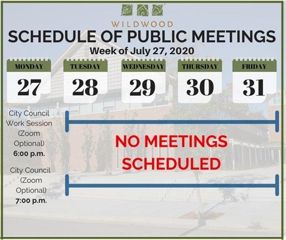 City of Wildwood - Schedule of Meetings for the Week of July 27, 2020