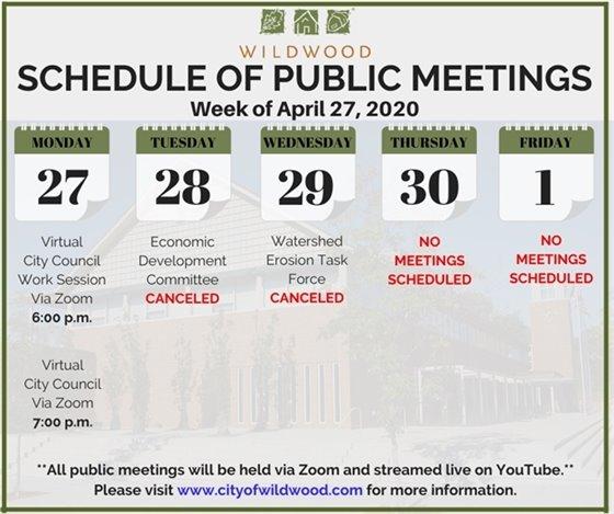 City of Wildwood - Schedule of Meetings for the Week of April 27, 2020