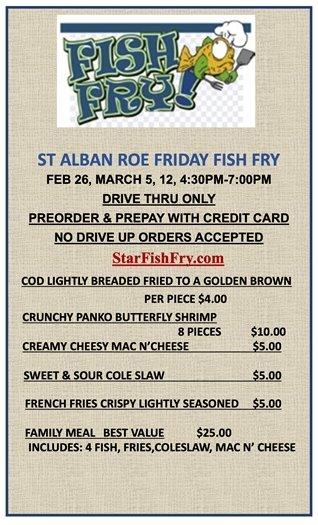 St. Alban Roe Church - Friday Fish Fries