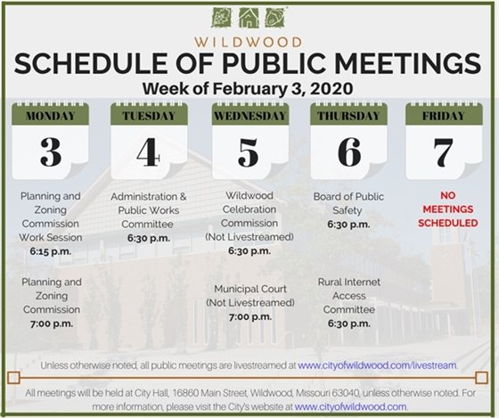 City of Wildwood Schedule of Meetings for the Week of February 3, 2020