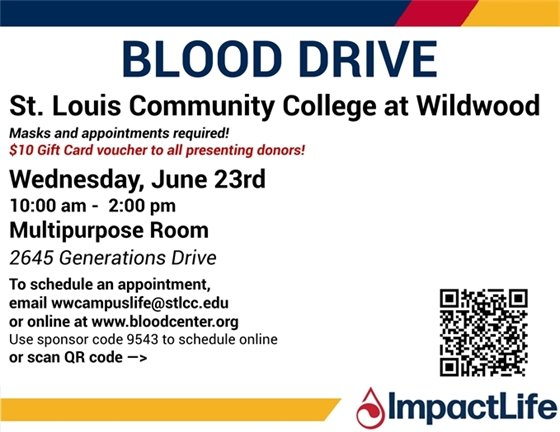 St. Louis Community College @ Wildwood - Blood Drive on 06/23/2021