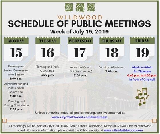City of Wildwood Schedule of Meetings for the Week of July 15, 2019