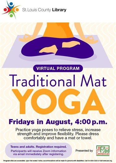 Virtual Program - Traditional Mat YOGA - Fridays in August