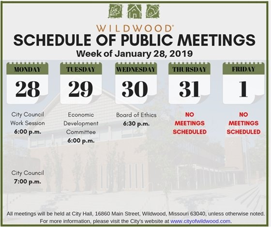 City of Wildwood - Public Meeting Schedule for the Week of January 28, 2019