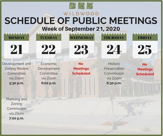 Schedule of Meetings for the Week of September 21, 2020 - City of Wildwood