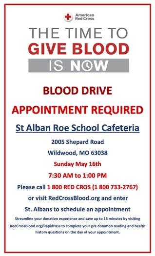 St. Alban Roe Church - May 16th Blood Drive