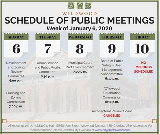 City of Wildwood - Schedule of Public Meetings for the Week of January 6, 2020