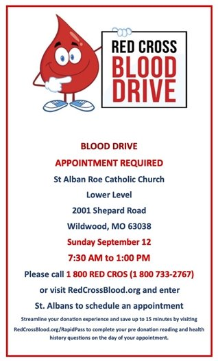 St. Alban Roe Church - Blood Drive (by Appointment)