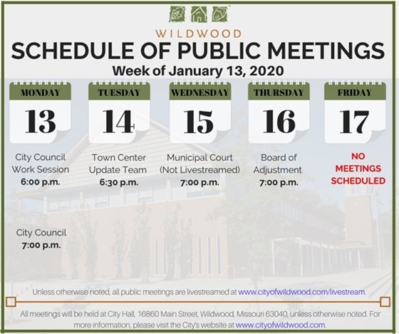 City of Wildwood's Meeting Schedule for the Week of January 13, 2020