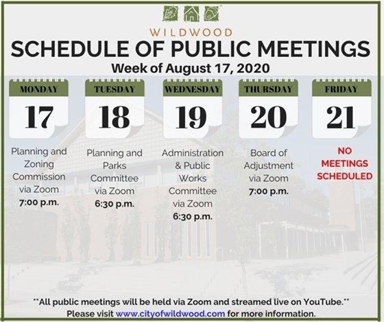 City of Wildwood - Schedule of Meetings for the Week of August 17, 2020
