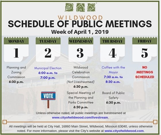 Schedule of Meetings of the City of Wildwood - Week of April 1, 2019