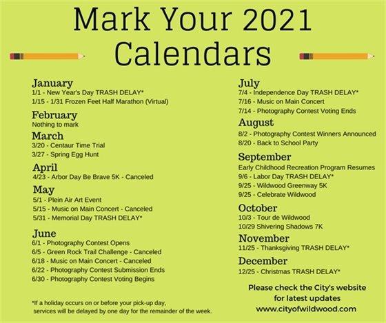 Mark Your Calendars - Fun Days Ahead